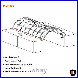 20 x 40 FT SHIPPING CONTAINER CANOPY / SHELTER, SHED GALVANISED STEEL FRAME