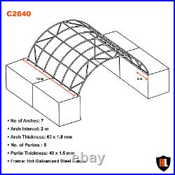 26 x 40 FT SHIPPING CONTAINER CANOPY / SHELTER, SHED GALVANISED STEEL FRAME