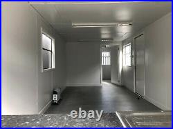 32ft x 10ft open plan office portable cabin with new kitchen + heater installed
