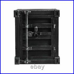 CGC Black Industrial Shipping Container Table Storage Unit Vintage Bedside