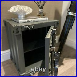 CGC Grey Industrial Retro Shipping Container Vintage Table Storage Bedside UK