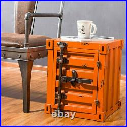 CGC Orange Industrial Retro Shipping Container Vintage Table Storage Bedside UK