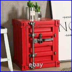 CGC Red Industrial Shipping Container Table Storage Unit Vintage Bedside