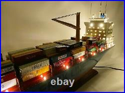 Maersk Alabama Container Ship Wooden Ship Model 36 With Lights